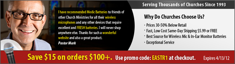 Wireless Mics for Church Battery Promo