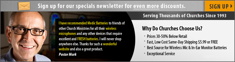 Sign up for Discounts on Wireless Microphone Batteries