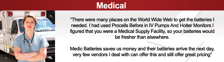 medical batteries, medical replacement batteries