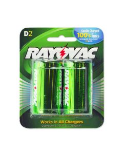 Rayovac rechargeable D batteries – 2 NiMH D batteries per blister pack