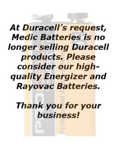 Duracell Coppertop Bulk 9V Battery Alkaline UNCAPPED 210/Case (MN1604)