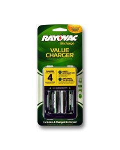 Compact charger with batteries. Plug folds out to charge and in to store.