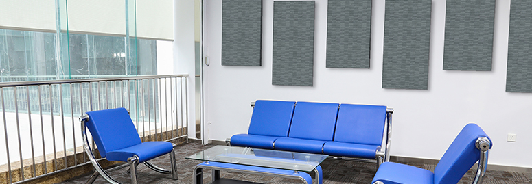 acoustic panels in a reception area to help with noise at work